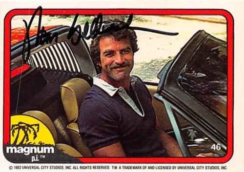 Tom Selleck autographed trading card Magnum PI 1982 TV Show SC #46