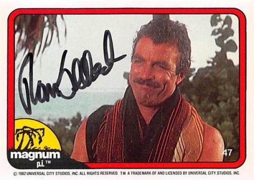 Tom Selleck autographed trading card Magnum PI 1982 TV Show SC #47