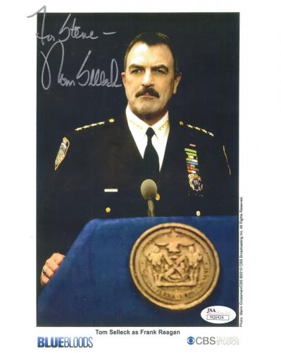 TOM SELLECK HAND SIGNED 8x10 PHOTO     GREAT POSE BLUE BLOODS    TO STEVE    JSA