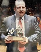 Tom Thibodeau Autographed / Signed Holding 2011 Coach of the Year Trophy 8x10 Photo