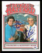 Tom Wopat & John Schneider The Dukes Of Hazzard Signed Coloring Book PSA AA69297