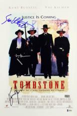 Tombstone (3) Russell, Kilmer & Elliott Signed 12x18 Movie Poster BAS #A80846