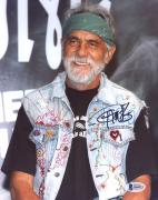 "Tommy Chong Autographed 8"" x 10"" Smiling Wearing Green Bandana Photograph - Beckett COA"