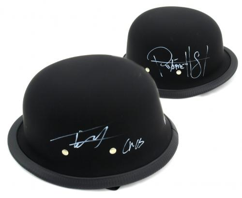 "Tommy Flanagan & Ryan Hurst Signed Daytona Matte Black Authentic Biker Helmet With ""Chibs"" and ""Opie"" Inscriptions"
