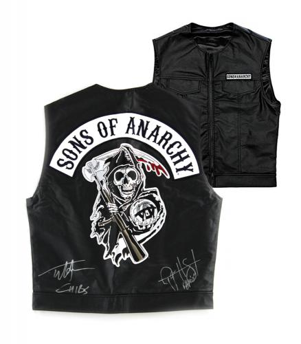"Tommy Flanagan & Ryan Hurst Signed Officially Licensed Sons of Anarchy Black Biker Vest with ""Chibs"" and ""Opie"" Inscriptions"