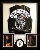 """Tommy Flanagan & Ryan Hurst Signed Officially Licensed Sons Of Anarchy Framed Black Biker Vest With """"Chibs"""" And """"Opie"""" Inscriptions"""