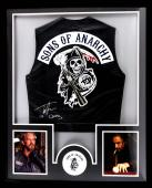 """Tommy Flanagan Signed Officially Licensed Sons Of Anarchy Framed Black Biker Vest With """"Chibs"""" Inscription"""