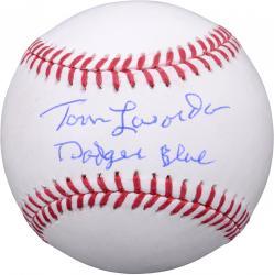 "Tommy Lasorda Los Angeles Dodgers Autographed Baseball with ""I Bleed Dodger Blue"" Inscription"