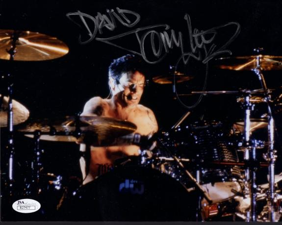 TOMMY LEE HAND SIGNED 8x10 COLOR PHOTO    MOTLEY CRUE DRUMMER    TO DAVID    JSA