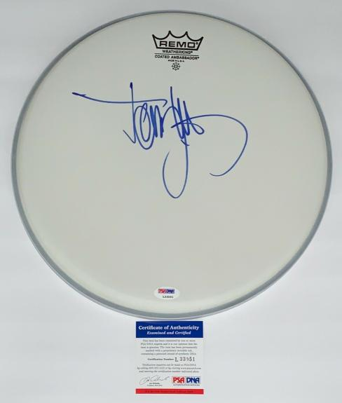 Tommy Lee Motley Crue Signed Drumhead Psa Coa L33051