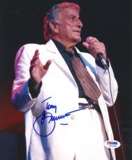 "Tony Bennett Autographed 8""x 10"" Singing in White Jacket Photograph - PSA/DNA COA"