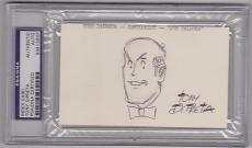 Tony DiPreta signed 3x5 Index Card w/ Joe Palooka cartoon sketch PSA/DNA Slabbed