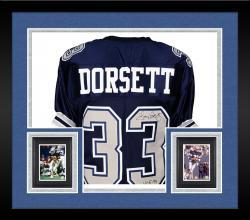 Framed Tony Dorsett Dallas Cowboys Autographed Blue Custom Jersey with HOF 94 Inscription