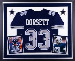 Tony Dorsett Dallas Cowboys Autographed Deluxe Framed Blue Jersey with HOF 94 Inscription