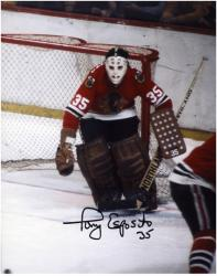 Tony Esposito Chicago Blackhawks Autographed Right Goal 8'' x 10'' Photo - Mounted Memories