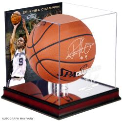 Tony Parker San Antonio Spurs 2014 NBA Finals Champions Autographed Spalding Indoor Outdoor Basketball with Mahogany Display Case