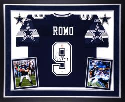 Tony Romo Dallas Cowboys Autographed Deluxe Framed Navy Blue Reebok Authentic Jersey