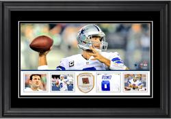 "Tony Romo Dallas Cowboys Framed 10"" x 18""  Panoramic with Piece of Game-Used Football - Limited Edition of 250"