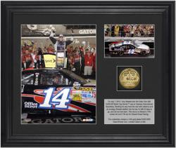 "Tony Stewart 2012 Coke Zero 400 Race Winner Framed 6"" x 5"" Photo with Plate & Gold Coin - Limited Edition of 320"