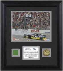 Tony Stewart 2013 Fed Ex 400 Autism Speaks Race Winner Framed Photomint with Race-Used Flag