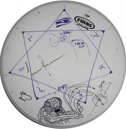 Tool Autographed Concert Played Signed Drumhead Certified Authentic PSA/DNA COA