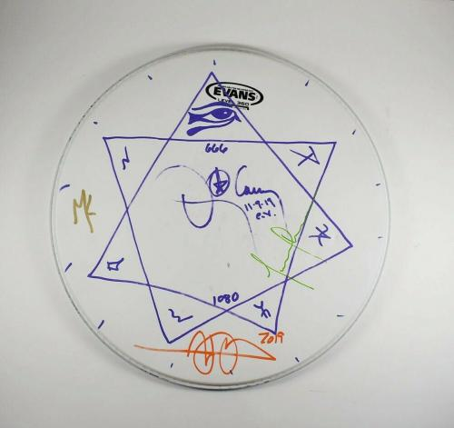 Tool Band by 4 Autographed Signed Concert Played Drumhead Authentic AFTAL COA
