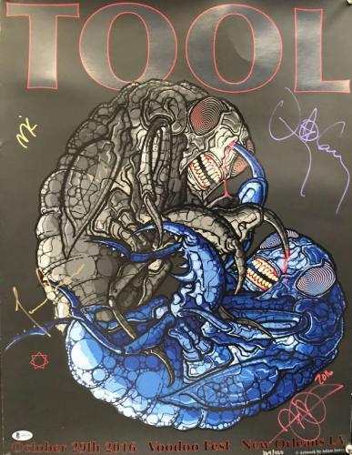 TOOL Signed Autographed 2016 Voodoo Fest Poster Maynard +3 Beckett BAS