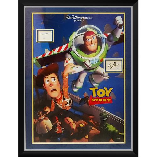 Toy Story Full-Size Movie Poster Deluxe Framed with Tom Hanks And Tim Allen Autographs – JSA