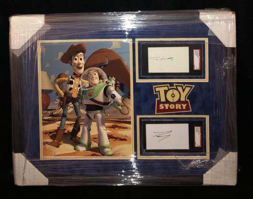 TOY STORY WOODY & BUZZ LIGHTYEAR TIM ALLEN & TOM HANKS SIGNED CUT FRAMED 26x30