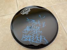 "Travis Barker Blink 182 Signed 10"" Drumhead W/ MF iNSCRIPTION Beckett Certified"