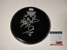 Travis Barker 'blink182' Signed Black Remo Drumhead Psa/dna Coa V73554
