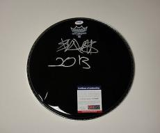 Travis Barker 'blink182' Signed Black Remo Drumhead Psa/dna Coa V73560