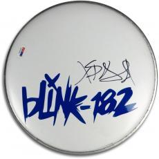 """Travis Barker Signed Autographed 10"""" Logo Drumhead Blink 182 Drummer PSA V47652"""