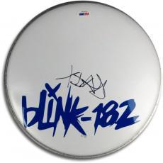"""Travis Barker Signed Autographed 10"""" Logo Drumhead Blink 182 Drummer PSA V47653"""