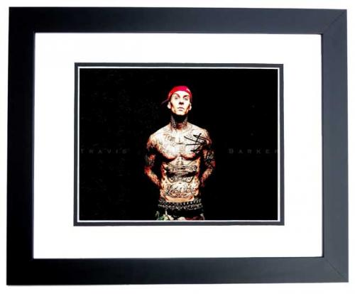 Travis Barker Signed - Autographed BLINK 182 Drummer 11x14 inch Photo BLACK CUSTOM FRAME - Guaranteed to pass PSA or JSA