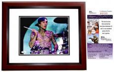 Travis Barker Signed - Autographed Blink 182 Dummer 8x10 Photo MAHOGANY CUSTOM FRAME - JSA Certificate of Authenticity