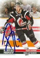 Travis Hamonic autographed hockey card (Moose Jaw Warriors now Calgary Flames SC) 2009 In The Game #131 pre rookie