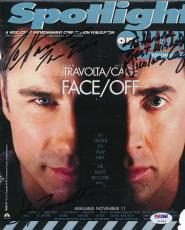 Travolta Cage Signed 9x10.5 Spotlight Newspaper Cover Photo Auto PSA/DNA V13092