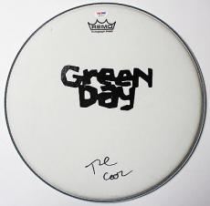 Tre Cool Of Green Day Signed Remo Drumhead! American Idiot! Psa/dna Coa W11937