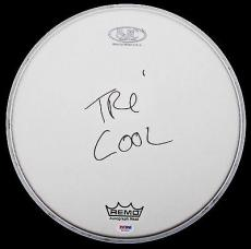 Tre Cool Of Green Day Signed Remo/sjc Drumhead American Idiot Psa/dna Coa W24973