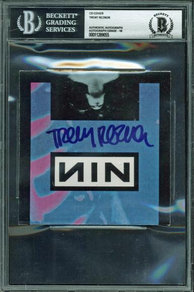 Trent Reznor NIN Signed Pretty Hate Machine Cd Cover Auto Graded 10! BAS Slabbed