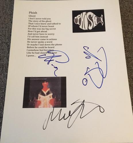 Trey Anastasio & Mike Gordon Phish Signed Autograph Ghost Custom Lyric Sheet Coa
