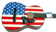 Trick Pony Autographed Signed Acoustic Flag Guitar & Proof PSA AFTAL