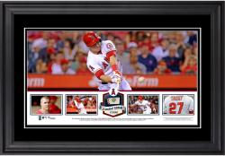 Mike Trout Los Angeles Angels of Anaheim Framed Panoramic with Piece of Game-Used Ball - Limited Edition of 500 - Mounted Memories