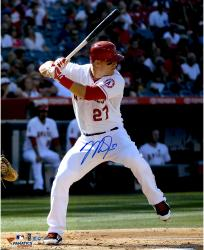 "Mike Trout Los Angeles Angels of Anaheim Autographed 16"" x 20"" Vertical Hitting Photograph"
