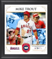 "Mike Trout Los Angeles Angels of Anaheim Framed 15"" x 17"" Collage with Piece of Game-Used Ball"