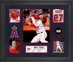 Mike Trout Los Angeles Angels of Anaheim Framed 5-Photo Collage with Piece of Game-Used Ball - Mounted Memories