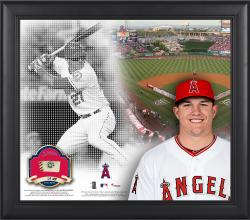 "Mike Trout Los Angeles Angels of Anaheim Framed 15"" x 17"" Mosaic Collage with Game-Used Baseball-Limited Edition of 250"