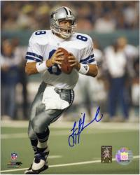 Troy Aikman Dallas Cowboys Autographed 8'' x 10'' Both Hands on Ball Photograph - Mounted Memories