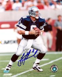 "Troy Aikman Dallas Cowboys Autographed 8"" x 10"" Blue Uniform Photograph"